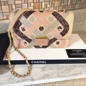 Auth. Chanel $8500 Runway Ed. Python Love Lock Bag